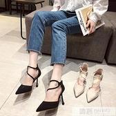 女鞋新款2020夏季淺口單鞋女高跟鞋晚晚風溫柔一字扣帶細跟黑色鞋  夏季新品