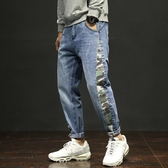 寬管男牛仔褲 藍色彈力哈倫男潮日系束腳寬鬆韓版男褲子 單寧牛仔褲【五巷六號】ns7005