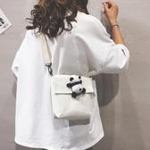 可愛簡約女生斜背包單肩帆布正韓百搭學生日系背包熊貓小包包【免運直出】
