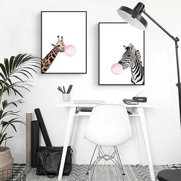客廳裝飾畫北歐現代簡約卡通動物臥室壁畫掛畫【聚寶屋】