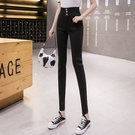 胖妹妹高腰彈力牛仔褲女秋季新款韓版修身顯瘦窄管褲【快速出貨】