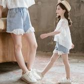 女童短褲牛仔夏裝韓版時髦洋氣薄款熱褲夏天外穿百搭中大兒童褲子『蜜桃時尚』