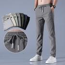 冰絲褲子男寬鬆透氣直筒休閒褲春夏季薄款速干長褲彈力男士運動褲 設計師