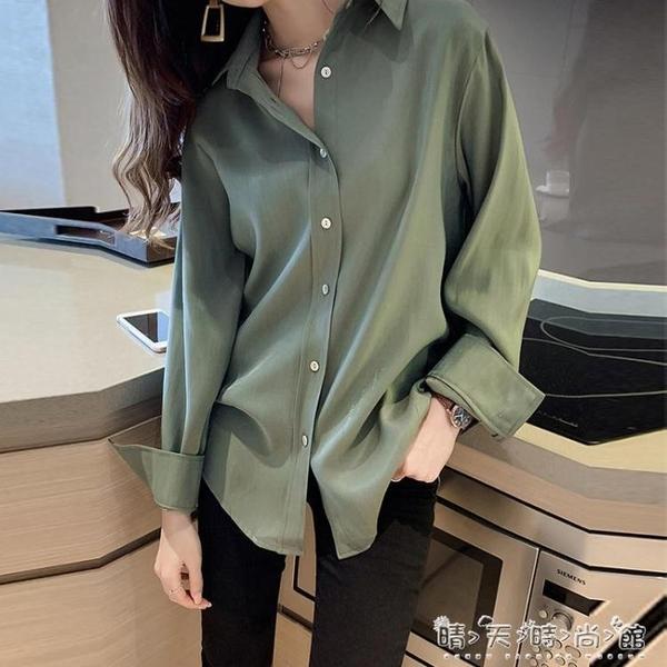 襯衫女新款秋季寬鬆設計感小眾初秋雪紡輕熟上衣復古港味襯衣晴天時尚