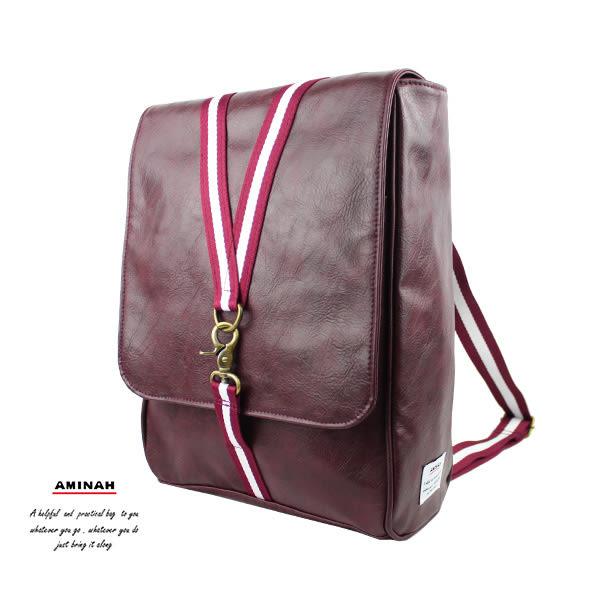 紫色鉤扣兩用後背包 AMINAH~【am-0297】