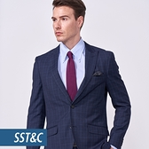 SST&C 男裝 海軍藍格紋裁縫西裝外套   0112010006