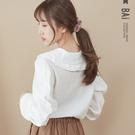 襯衫 純色雙層荷葉披肩翻領排釦上衣-BA...