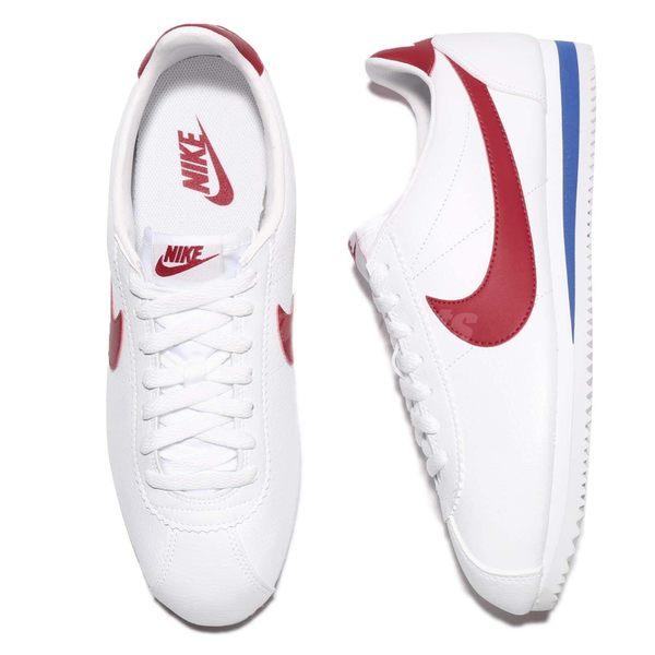 Nike 阿甘鞋 Classic Cortez Leather 白 藍 紅 OG 原版配色 皮革 男鞋 女鞋【PUMP306】 749571-154