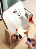 化妝鏡 高清木質鏡子台式大號化妝鏡簡約家用桌面梳妝鏡學生書桌男女【快速出貨】