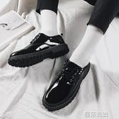 皮鞋夏季皮鞋男韓版潮流百搭學生潮鞋英倫休閒亮皮男鞋青少年圓頭港風 曼莎時尚
