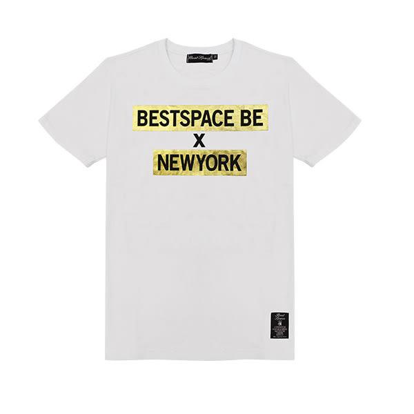 潮T Tshirt 情侶裝 MIT純棉 情侶T恤【J6721】燙金BESTSPACE BE NEWYORK 艾咪E舖 班服 團體服 S~XL