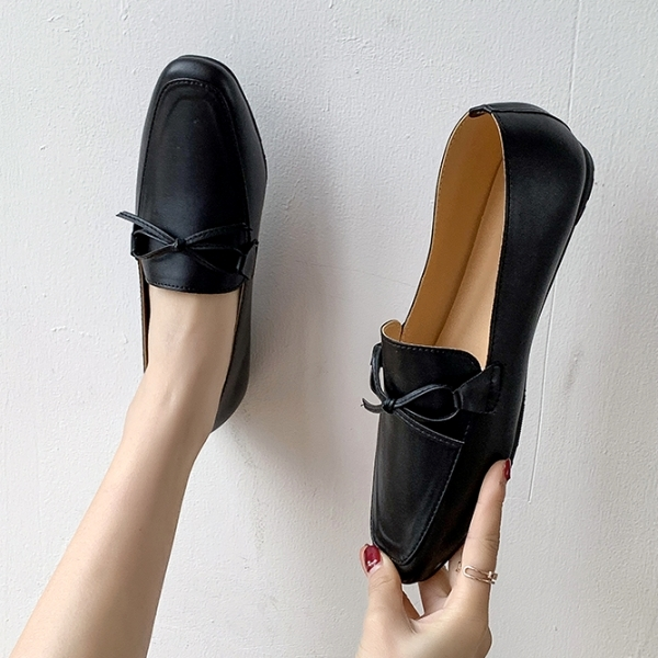 方頭鞋.MIT百搭蝴蝶結皮革樂福平底包鞋.白鳥麗子