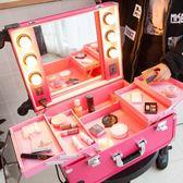 限定款化妝箱 專業多層拉桿帶燈化妝箱紋繡美甲工具箱帶燈拉桿收納箱手提跟妝箱jj