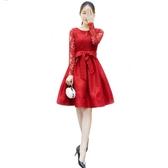 長袖洋裝蕾絲連身裙女夏新款韓版紅色大碼中長款春秋冬長袖高腰收腰蓬蓬裙