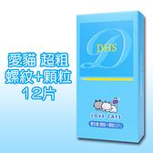 【愛愛雲端】(藍)愛貓(顆粒螺紋)保險套12入 B700007