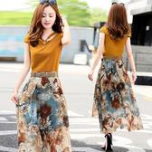 韓版 S-3XL 2020夏裝新款波西米亞雪紡印花沙灘裙 兩件套修身顯瘦套裝連身裙9313A NE38-A 韓依紡