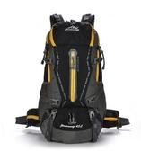 戶外旅遊登山雙肩包45L男女懸浮支架防水旅行徒步背包野營背囊(黑色)