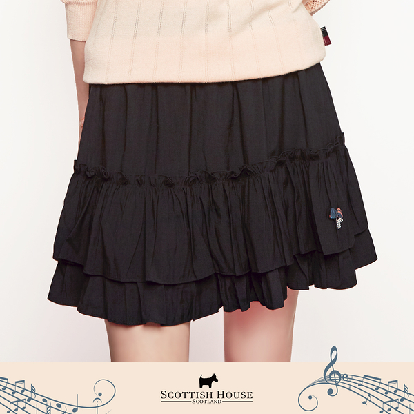 【Scottish House】 平織 素面 荷葉 鬆緊腰頭 蛋糕裙 短裙 (AN2154)