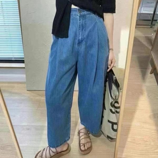 寬管褲 直筒褲女夏季薄款小個子日系高腰顯瘦胯骨寬適合的褲子九分闊腿褲