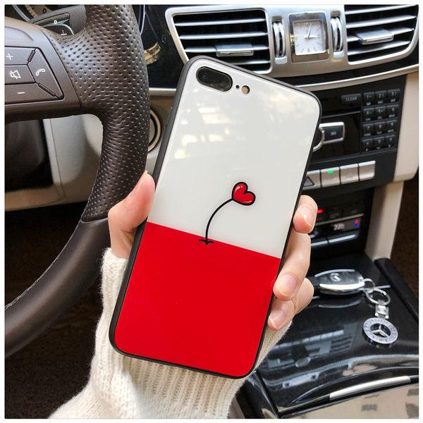 【SZ15】網紅同款簡約愛心玻璃殼 iphoneX 手機殼 iphone 7/8 plus保護殼 i6splus手機殼