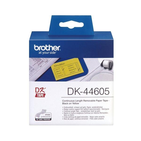 ※亮點OA文具館※ brother 連續型標籤帶 DK-44605 (黃底黑字 62mm x 30.48m)