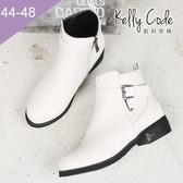 大尺碼女鞋-凱莉密碼-韓版素面簡約皮帶扣飾騎士平底短靴3cm(44-48)【QZ2072】白色