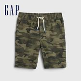 Gap男童 棉質舒適鬆緊休閒褲 538811-綠色迷彩