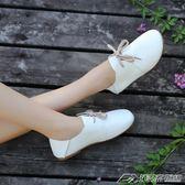 平底單鞋女小白鞋韓版繫帶娃娃鞋新款春季學生軟面小皮鞋舒適   潮流前線