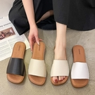 方頭鞋.極簡風百搭舒適素面寬帶平底拖鞋.白鳥麗子