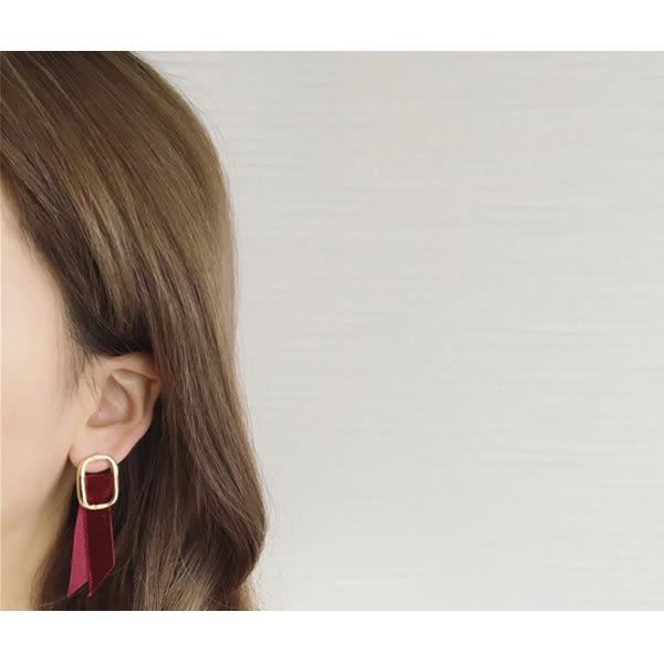 耳環 歐美個性绒面吊墜金屬設計耳環【1DDE0537】