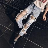 韓版高腰膝蓋大破洞牛仔褲女寬鬆乞丐九分褲bf破洞褲子潮 至簡元素