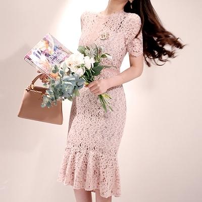 OL洋裝S-XL2562#韓版夏季蕾絲荷葉邊修身搖曳荷葉擺連身裙NA71快時尚