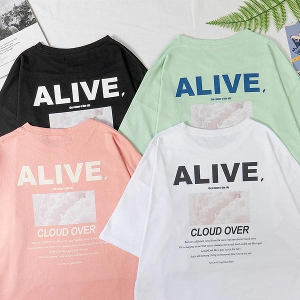 韓國女裝 Alive撞色拼字圖案短袖上衣 C1026 正韓直送 韓妞必備