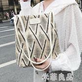 包包女潮流托特包手提包單肩麻布正韓百搭大容量女包 『米菲良品』