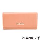 PLAYBOY- 翻蓋長夾 經典粉桔羊皮系列-粉桔色
