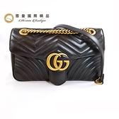 【雪曼國際精品】GUCCI GG Marmont絎縫紋牛皮金屬雙G LOGO暗壓釦手拿/斜背包~二手9.2成新