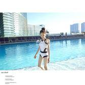 連體泳衣女韓國小清新三角泳裝遮肚顯瘦性感修身黑白款比基尼學生『伊莎公主』
