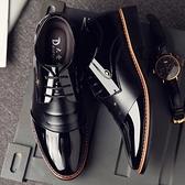 皮鞋男士商務正裝黑色漆男春季潮鞋韓版英倫尖頭休閒內增高男鞋子 童趣