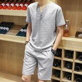 夏季男士短袖T恤兩件套裝潮流棉麻寬鬆體恤休閒短褲大碼運動衣服 東京衣櫃