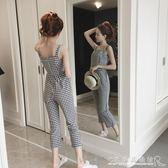 女無袖背帶格子褲修身顯瘦學生九分連體褲 水晶鞋坊