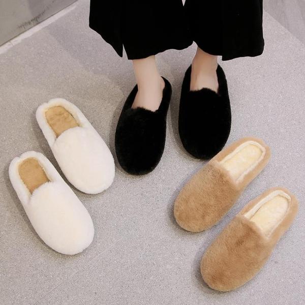 拖鞋女外穿2020年秋冬季新款網紅室內加絨黑色毛絨包頭棉拖毛毛鞋 後街五號