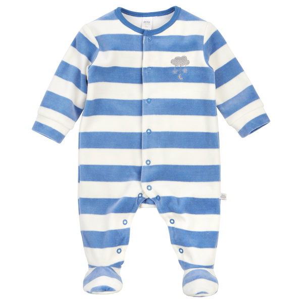 美國/包屁衣  Petit Lem 藍白條紋短絨長袖包腳連身衣 16FE12D477