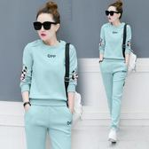 運動服套裝女裝2019春夏季新款韓版學生大碼寬鬆時尚潮衛衣兩件套 藍嵐