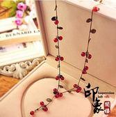 韓國復古森林少女系波西米亞櫻桃項鏈甜美時尚紅櫻桃手鏈耳環套裝【聖誕交換禮物】