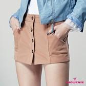 【SHOWCASE】俏麗短絨質感前排釦仿窄裙短褲(駝色)
