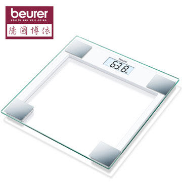 德國博依beurer 典雅方型玻璃體重計 GS14