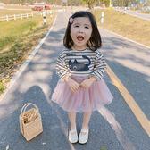 兒童連身裙 女童春裝童裝條紋拼接卡通連身裙洋氣潮款兒童寶寶裙子潮 【童趣屋】