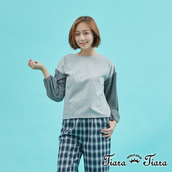 【Tiara Tiara】百摺雪紡長袖拼接棉質上衣(灰/黑)