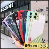 【萌萌噠】iPhone11 系列 XR Xs Max 簡約創意 撞色方形保護殼 全包鏡頭 透明亞克力背板 手機殼 手機套