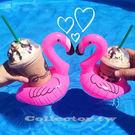【超取199免運】充氣式紅鶴鳥飲料套 游泳池可樂套 火烈鳥充氣杯座 夏日必備